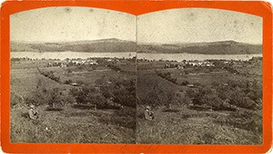 Stereoview of Enfield, NH Shaker Village - Looking east to South Family.