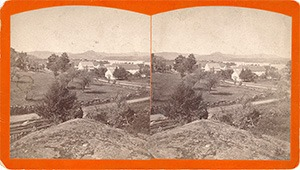 Stereoview of Enfield, NH Shaker Village - Looking northeast to South Family.