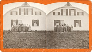 Stereoview of Enfield, NH Shaker Village - Shaker sisters and Creamery at South Family.
