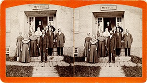 Stereoview of Enfield, NH Shaker Village - Group of Shakers at South Family.