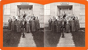 Stereoview of Enfield, NH Shaker Village - Group of Shaker sisters at South Family.