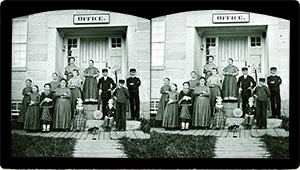 Stereoview of Enfield, NH Shaker Village - Group of Shaker children at South Family.