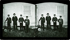 Stereoview of Enfield, NH Shaker Village - Group of Shaker boys with musical instruments at South Family.