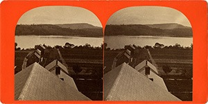 Stereoview of Enfield, NH Shaker Village - Looking east to Mascoma Lake.