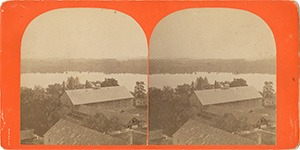 Stereoview of Enfield, NH Shaker Village - Looking northeast to the Cow Barn.