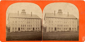 Stereoview of Enfield, NH Shaker Village - North side of the Great Stone Dwelling.