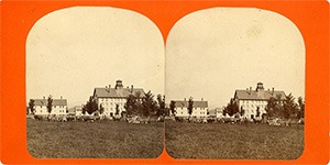 Stereoview of Enfield, NH Shaker Village - Looking north, School Children and Teams in foreground.