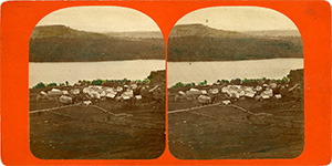 Stereoview of Enfield, NH Shaker Village - Looking east to the South Family.