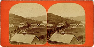 Stereoview of Enfield, NH Shaker Village - Looking northwest to the North Family.