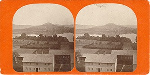 Stereoview of Enfield, NH Shaker Village - Looking east to Brethren's West Shop, Cemetery and Mascoma Lake.