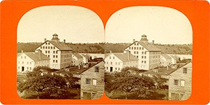 Stereoview of Enfield, NH Shaker Village - Looking northeast to Church Family.