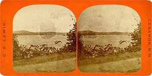Stereoview of Enfield, NH Shaker Village -Looking south to the Shaker Bridge.