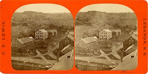 Stereoview of Enfield, NH Shaker Village - Looking west to the blacksmith shop, stone mill, and tannery.