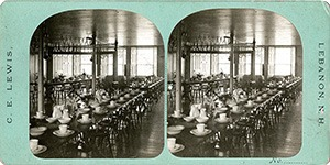 Stereoview of Enfield, NH Shaker Village - Dining Hall.