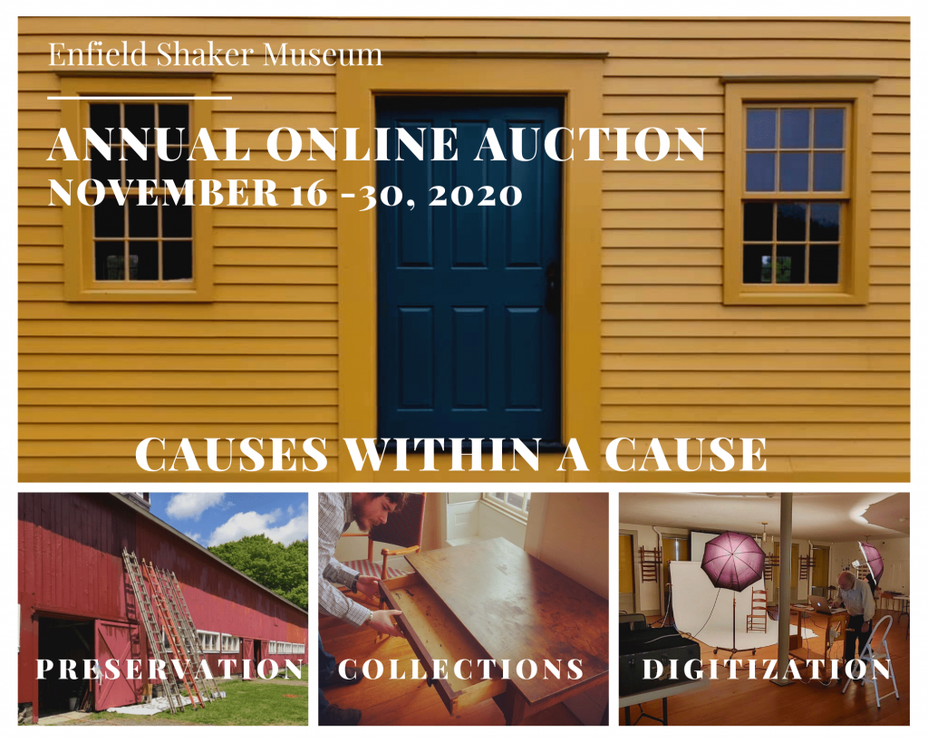 Color image of four photographs advertising Enfield Shaker Museum's 2020 Annual Auction (now online)