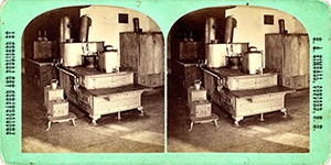 Stereoview of Canterbury, NH Shaker Village - Cook Stoves.
