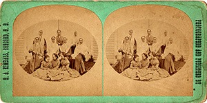 Stereoview of Canterbury, NH Shaker Village - Group of Sisters and Girls.