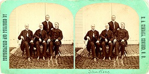 Stereoview of Canterbury, NH Shaker Village - Group of Brothers.