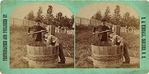 Stereoview of Canterbury, NH Shaker Village - Getting a Drink
