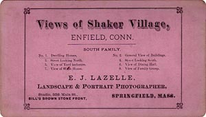Stereoview of Enfield, CT Shaker Village - Lazelle South Family Series List.