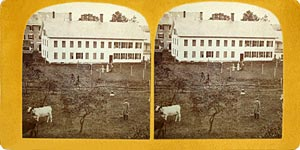 Stereoview of Enfield, CT Shaker Village - South Family Wash House.