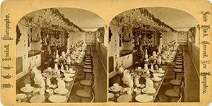 Stereoview of Canterbury, NH Shaker Village - Dining Hall interior.