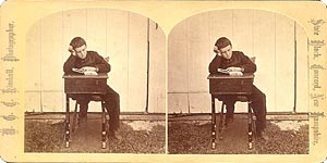 Stereoview of Canterbury, NH Shaker Village - The Young Student.