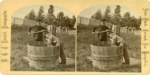 Stereoview of Canterbury, NH Shaker Village - Getting a Drink.