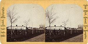 Stereoview of Canterbury, NH Shaker Village - Church Family from the north.