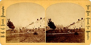 Stereoview of Canterbury, NH Shaker Village - Church Family view from the east.