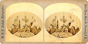 Stereoview of Canterbury, NH Shaker Village - Sisters and Girls.