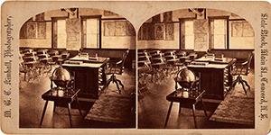Stereoview of Canterbury, NH Shaker Village - School Room Interior.