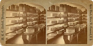 Stereoview of Canterbury, NH Shaker Village - Cheese Room.
