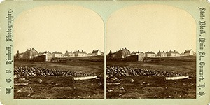 Stereoview of Canterbury, NH Shaker Village - Church Family from the south.