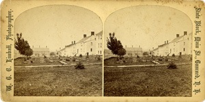 Stereoview of Canterbury, NH Shaker Village - Church Family looking west towards Office.