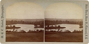 Stereoview of Canterbury, NH Shaker Village - Island and Pond.