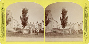 Stereoview of Canterbury, NH Shaker Village - Church Family from the west.
