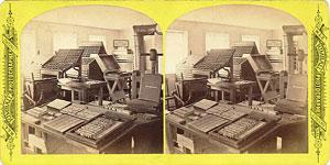 Stereoview of Canterbury, NH Shaker Village - Printing Office interior.