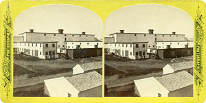 Stereoview of Canterbury, NH Shaker Village - The Great Barn.