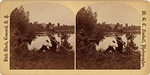 Stereoview of Canterbury, NH Shaker Village - Clothing Mill and Lake.