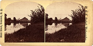 Stereoview of Canterbury, NH Shaker Village - Lily Pond and Mirrored Mill.