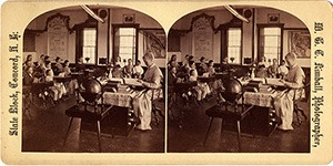 Stereoview of Canterbury, NH Shaker Village - School Room with Teacher and Pupils.