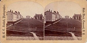 Stereoview of Canterbury, NH Shaker Village - Church Family from the office.