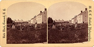 Stereoview of Canterbury, NH Shaker Village - Flower Garden with Mary and two little boys.