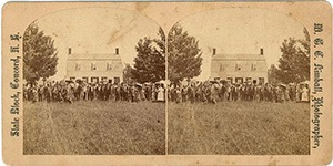 Stereoview of Canterbury, NH Shaker Village - Congregation of Strangers.