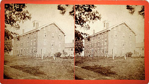 Stereoview of Enfield, CT Shaker Village - South Family Dwelling Houses.