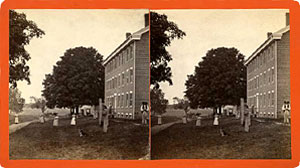 Stereoview of Enfield, CT Shaker Village - South Family Street Looking North.