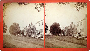 Stereoview of Enfield, CT Shaker Village - South Family Street Looking South.