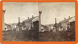 Stereoview of Enfield, CT Shaker Village - View of Yard.