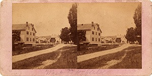 Stereoview of Hancock, MA Shaker Village - Church Family from the east.